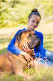 Teen girl with the dog Royalty Free Stock Photo