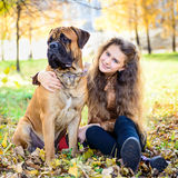 Teen girl and dog Stock Images