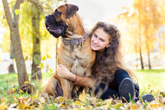 Teen girl and dog Royalty Free Stock Photography