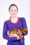 Teen girl with dog in her hands, studio shot Stock Image