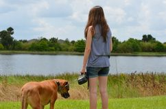 Teen Girl With Dog Stock Image