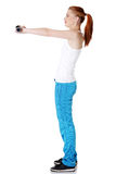 Teen girl doing exercises. Royalty Free Stock Images