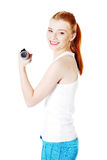 Teen girl doing exercises. Stock Photo