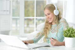Teen girl doing lessons Royalty Free Stock Image