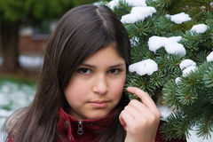 Teen girl dreaming in the snow Stock Photography