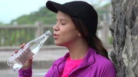 Teen Girl Drinking Water stock footage