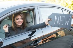 Teen Girl Driving Car Royalty Free Stock Photography