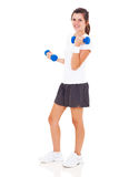 Teen girl dumbbells Stock Image