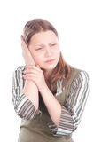 Teen girl with earache Royalty Free Stock Images