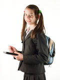 Teen girl with electronic book reader isolated on Royalty Free Stock Photography