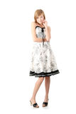 Teen girl in elegant white dress Stock Photos