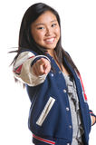 Teen Girl With Energy Wearing High School Jacket royalty free stock photo