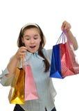 Teen girl enjoys shopping Royalty Free Stock Images