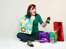 Teen Girl Excited with Shoes Stock Images