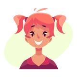 Teen girl face, smiling facial expression Royalty Free Stock Photos