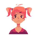 Teen girl face, upset, confused facial expression vector illustration