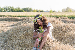 Teen girl in the field Stock Photos