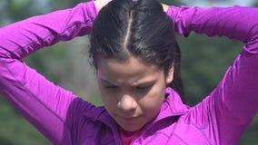 Teen Girl Fixing Her Hair stock video