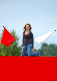 Teen Girl With Flags Royalty Free Stock Images
