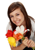 Teen girl with flowers stock image