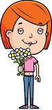 Teen Girl Flowers Royalty Free Stock Images