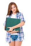Teen girl with folders Royalty Free Stock Photos