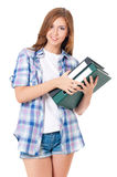Teen girl with folders Stock Photography