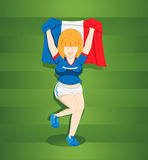 Teen girl footballs fans from France Royalty Free Stock Photo