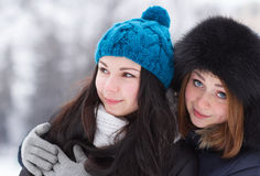 Teen girl friends outdoors in winter Royalty Free Stock Photo