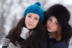 Teen girl friends outdoors in winter Stock Photos