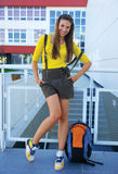 Teen girl in front of school Royalty Free Stock Photo