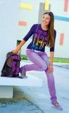 Teen girl in front of school Stock Photos