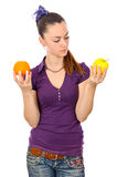 Teen girl with fruits food problem Royalty Free Stock Photography