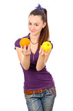 Teen girl with fruits isolated Stock Photo