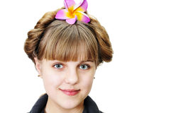 Teen girl with funny hairstyle royalty free stock photo