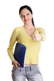 Teen girl gesturing ok. Stock Photo
