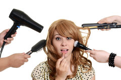 Teen girl getting a makeover Stock Photo