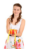 Teen girl giving valentines gift Stock Photo