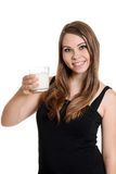 Teen girl with glass of milk Royalty Free Stock Images