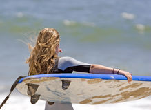 Teen Girl Going Surfing Stock Photography