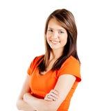 Teen girl half length. Happy teen girl half length portrait isolated on white background royalty free stock image