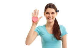Teen girl in hand heart love symbol valentine Royalty Free Stock Images