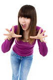 Teen girl with hands up portrait Royalty Free Stock Photography