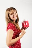Teen girl happy with gift royalty free stock photo