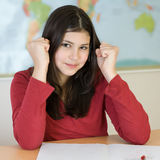 Teen girl happy about her test score Stock Image