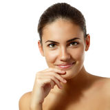Teen girl - happy young natural beauty over white stock photography