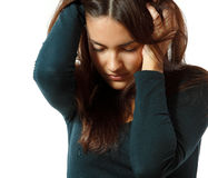 Teen girl in hard depression cried lonely with headache Stock Photo