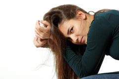 Teen girl in hard depression cried lonely Royalty Free Stock Photos