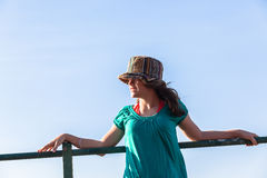 Teen Girl Hat Expressions Blue Sky Royalty Free Stock Image