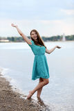 Teen girl having fun on the beach Royalty Free Stock Images